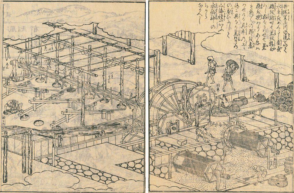 井手の水車 「拾遺都名所図会」